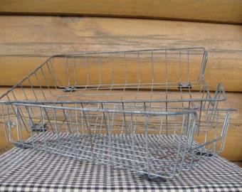 Vintage Wire Desk Bin Basket Organizers, Pair