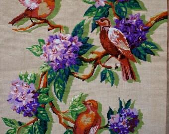 Bird and Flower Needlepoint
