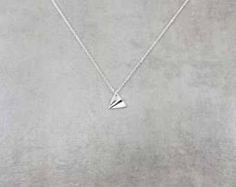 Paper Airplane [SILVER] Plated Necklace in Gift Box Aeroplane Glider Choker Trendy Fashion Jewelry