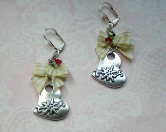 Earrings silver Edelweiß Oktoberfest Swarovski