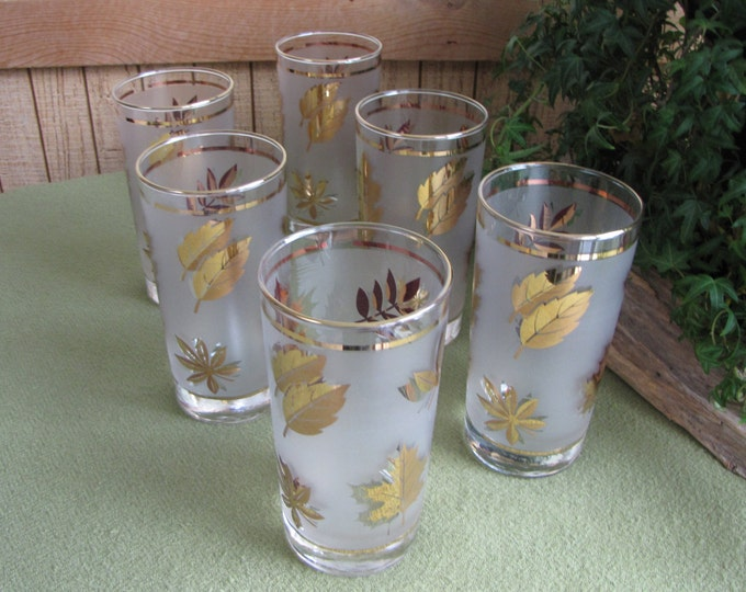 Vintage Gold Leaves Tumblers Set of Six (6) Libbey's Golden Foliage Highball or Cocktail Glasses