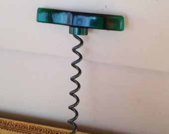 Vintage Green Lucite Corkscrew, collectible Barware, Entertaining, Kitchen Gadget, Bottle Opener