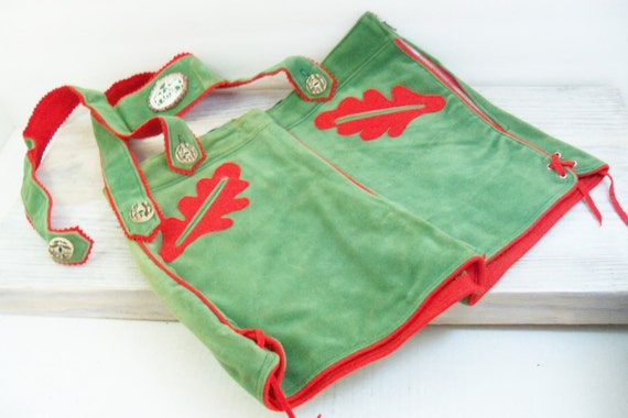 Vintage German Lederhosen Boy's Shorts Green Suede and Red Felt Accents 1940s