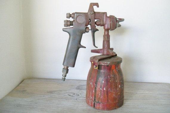 Vintage Metal Paint Gun with 1 Quart Metal Paint Canister Paint Sprayer 1960s