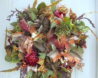 Fall Pumpkin Wreath- Autumn Wreath- Thanksgiving Deco Mesh Wreath- Front Door Wreath