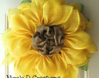 Yellow- Sunflower Wreath- Summer Wreath- Paper Mesh Flower Wreath