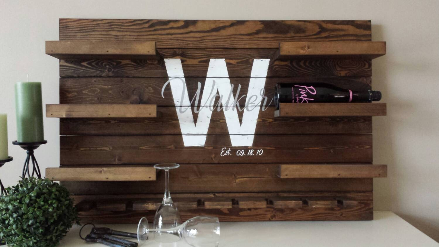 Wine Racks For Home: Personalized Reclaimed Wood Wine Rack Family Name