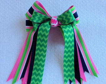 Bowdangles Show Bows/Equestrian clothing/Green Chevron  Pink Blue