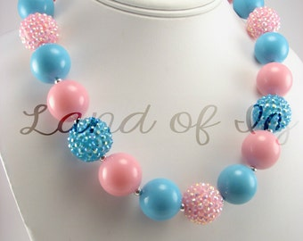 Blue and Pink **ON SALE** Spring Colors Bubblegum Chunky Necklace