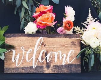 Welcome sign; Rustic Wooden Sign