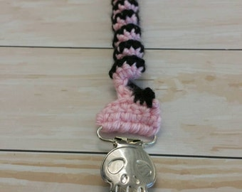 Light Pink Punk Swirl Spring Pacifier Clip with Skull Clip