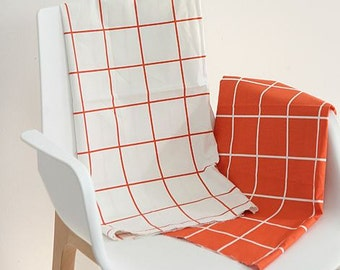 Simple Square Pattern Cotton Fabric - 2 Colors Selection