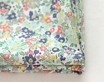 """Lawn Fabric - Little Flower Pattern Lawn Fabric """"Lucretia Eggshell Blue"""" by Half Yard - 55"""" Width"""