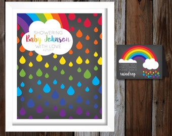 Printable Baby Shower Guest Book Alternative, Sign-In Poster, Pregnant After A Loss, Rainbow Baby, Chalkboard Style