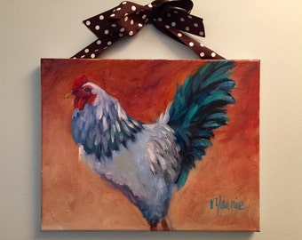 Polka Chicken oil painting, rooster, chicken, farm