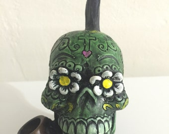 Tobacco Hand Made Pipe, Green Sugar Skull Design
