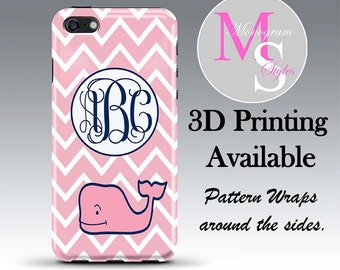 Monogram iPhone 6 Case Personalized Phone Case Pink Chevron w/ Whale Monogrammed iPhone 5, 5S, 5C Case, Iphone 4, 4S iPhone 6 Plus #2251