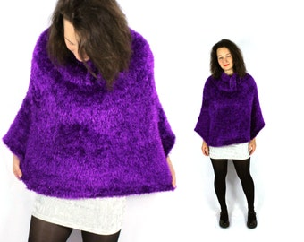 Vintage 80s 90s Fuzzy Poncho Purple Winter Warmer