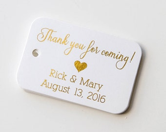 Thank You For Coming Tags, Gold Foiled Wedding Favor Tags, Small Wedding Favor Tags (RR-026-F)