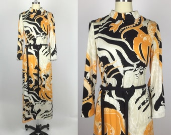 1970s. Rare Vintage Dragon Print Chinese Inspired Maxi Dress. Size Medium.