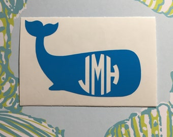 Whale Monogram Decal