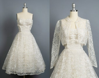 Vintage 1950s wedding dress // 50s lace wedding gown