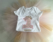 SALE 40% OFF- Pink and Gold Tutu...First Birthday Girl...Birthday Tutu...Baby Girl 1st Birthday Girl Outfit...Tutu a...Gold Glitter One