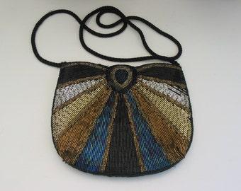 Gorgeous Vintage Beaded Evening Bag  With Shoulder Strap