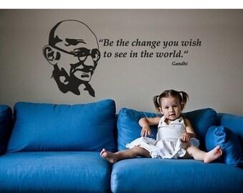 Hot Summer Sale - 20% OFF Change Ghandi wall word decal, sticker, mural, vinyl wall art