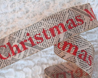 """5 YARDS Christmas Ribbon 2.5"""" Merry Christmas On Newsprint Wired Ribbon Craft Supplies Bow Making Supplies Vintage Style Holiday Ribbon"""