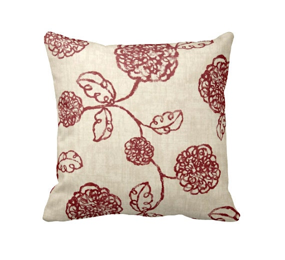 7 Sizes Available: Red Floral Pillow Cover Decorative Pillow