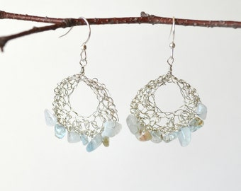 Aquamarine Boho Earrings in Silver Wire, Dangling Hoops