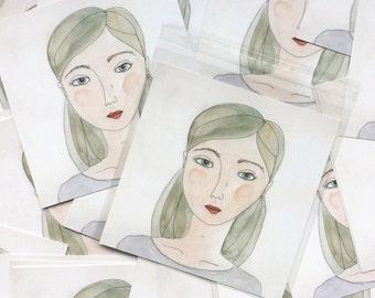 Watercolor Print Green Girl