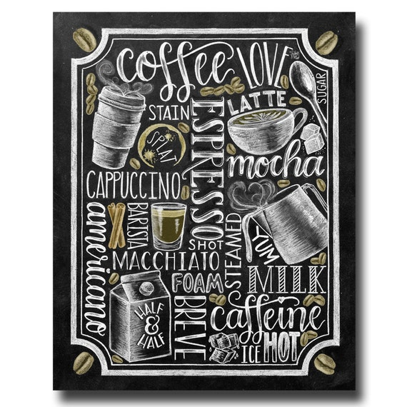 Blackboard Artwork Ideas: Coffee Sign Kitchen Art Coffee Bar Chalkboard Art Chalk