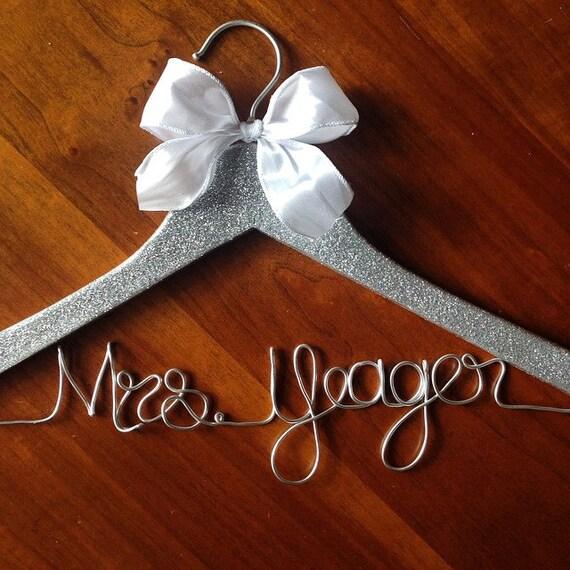 Glitter hangers sparkle hanger mrs wedding by accentsbyalex for Wedding dress hanger name