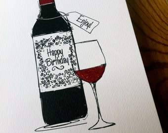 RED WINE Birthday Card