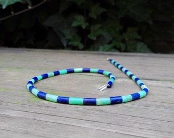 Necklace Chrysoprase and Lapis Lazuli - gift idea
