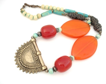 Nepalese Large Amber Necklace Tibetan Collectible Ethnic Necklace Tibetan Silver Repousse and Yak Bone Beads Bronze Repousse Pendant