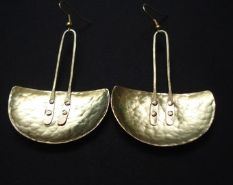 Hammered Bronze Pendulum Earrings Half Disc Metalwork Cold Connection Earrings Contemporary Handmade Statement Earrings