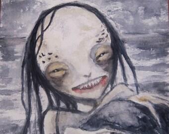 Creepy Cute Mermaid Painting Gothic Fantasy Art Original Watercolor One of a Kind Painting Dark Art Illustration MPrince