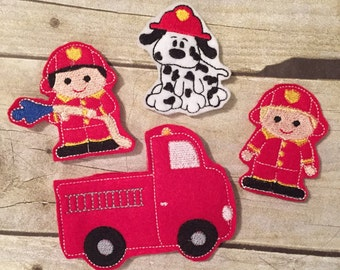 Set of 3 Firefighter Finger Puppets plus Fire Truck Case