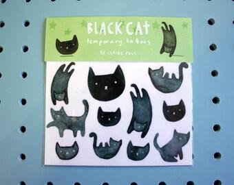 Black Cat Temporary Tattoos // Transfers // Halloween Costume
