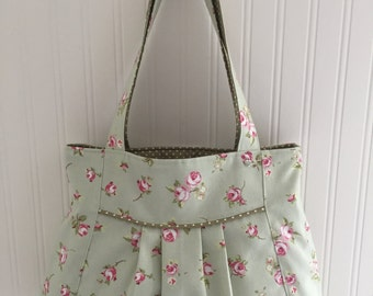 Pale Green and Pink Floral Bag.  Handmade.  Unique. Individual.