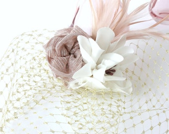 Pink & Gold Birdcage Veil with feather - bridal accessory / handmade fabric flowers / vintage bride