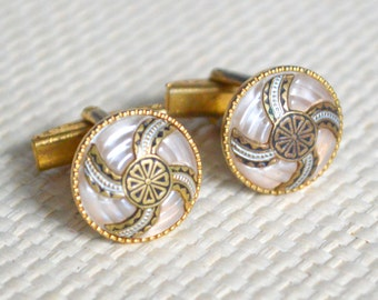 Spanish Damascene Cufflinks Toledoware Gold Silver Black and Faux Mother Of Pearl Circular Pattern - 18mm Diameter - Gift Boxed.