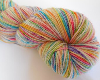Speckled Rainbow Hand Dyed Superwash Merino/ Nyon/ Stellina Sock Yarn