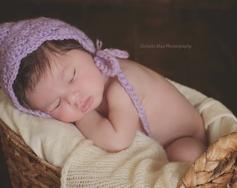 Newborn Infant Baby Crochet Scalloped Edge Pixie Bonnet Many Colors Custom Made to order Photo photography Prop