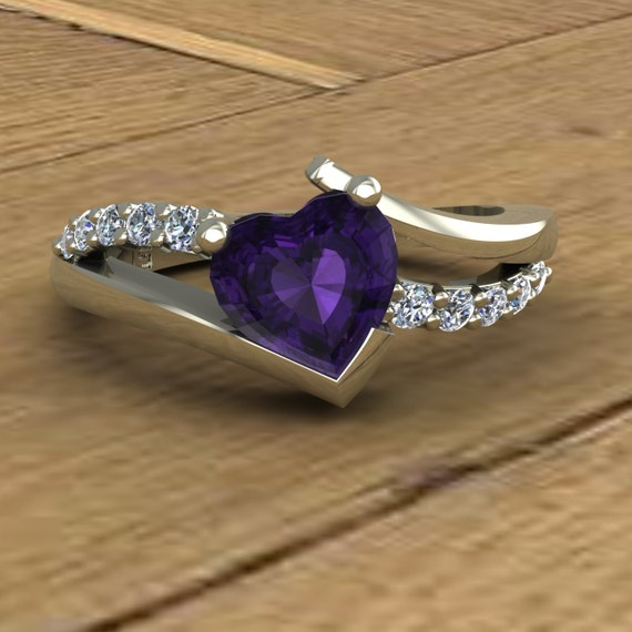 amethyst ring purple heart diamonds asymmetrical 14k. Black Bedroom Furniture Sets. Home Design Ideas