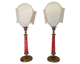 French Alabaster Lamps, Pair