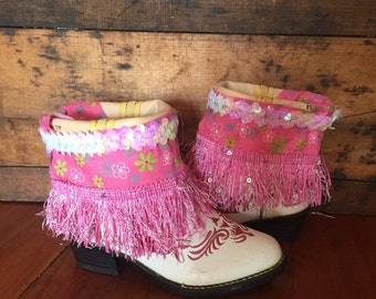 DURANGO White and pink upcycled Western cowgirl boots girls size 9 1/2